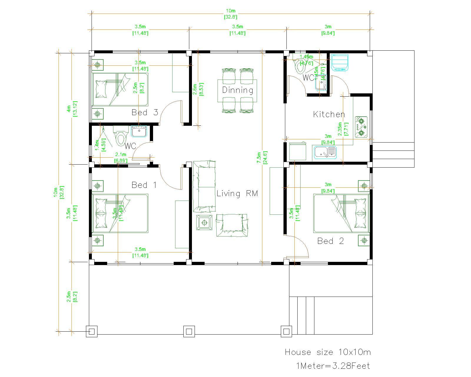 3 Bedroom House Plans 10x10 Meter 33x33 Feet layout floor plan