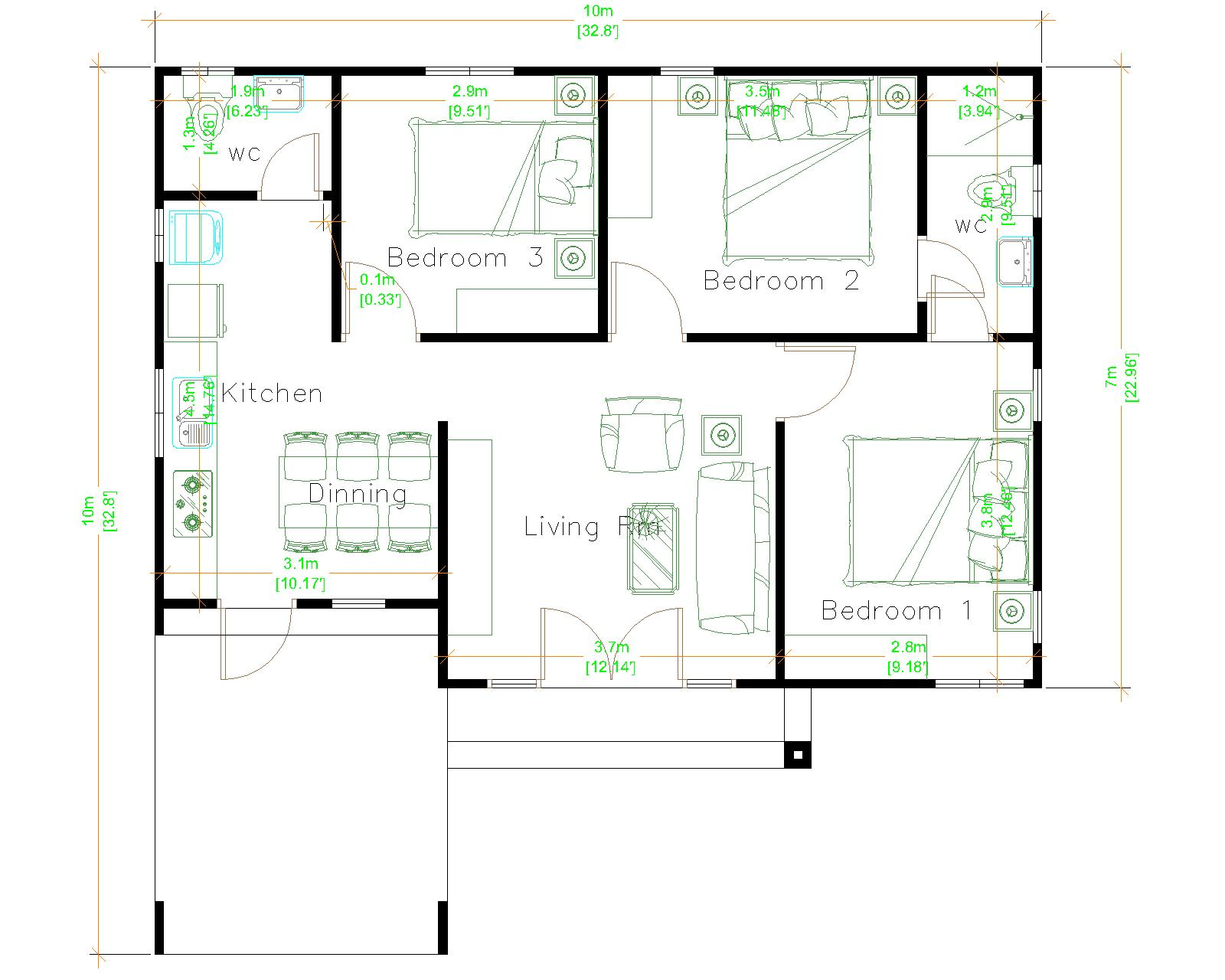3d House Design 10x10 Meter 33x33 Feet 3 Beds Layout floor plan