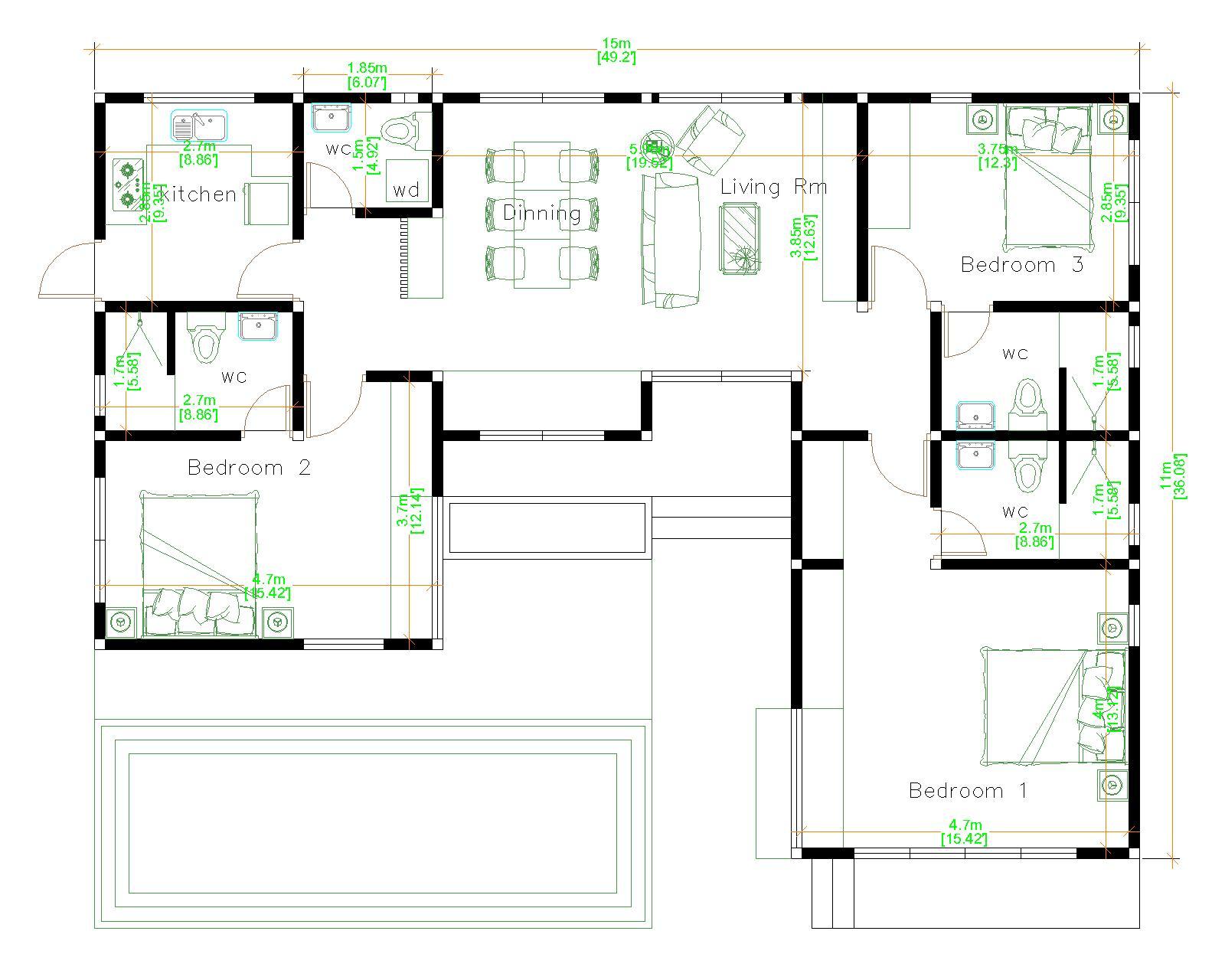 Cool House Plans 15x11 Meter 49x36 Feet 3 Beds floor plan