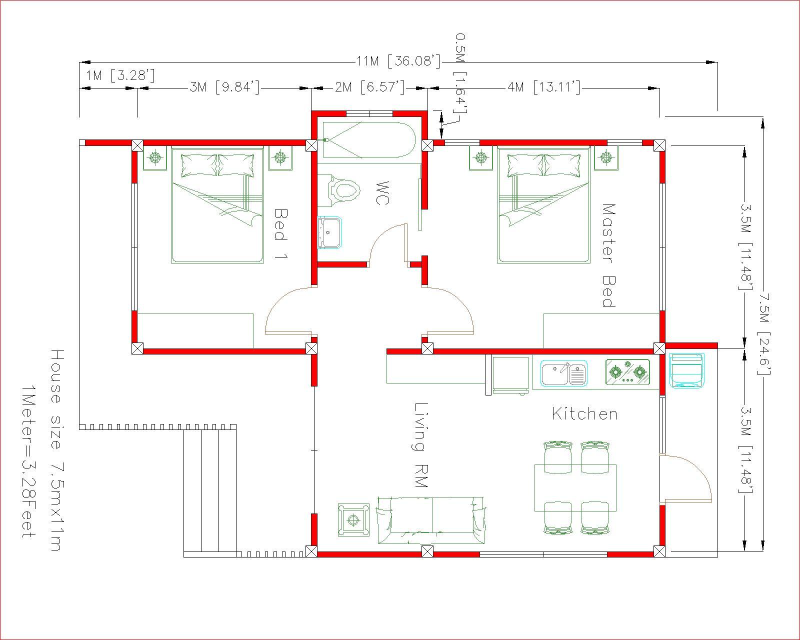 Cute Small Houses 7.5x11 Meter 25x36 Feet 2 beds floor plan