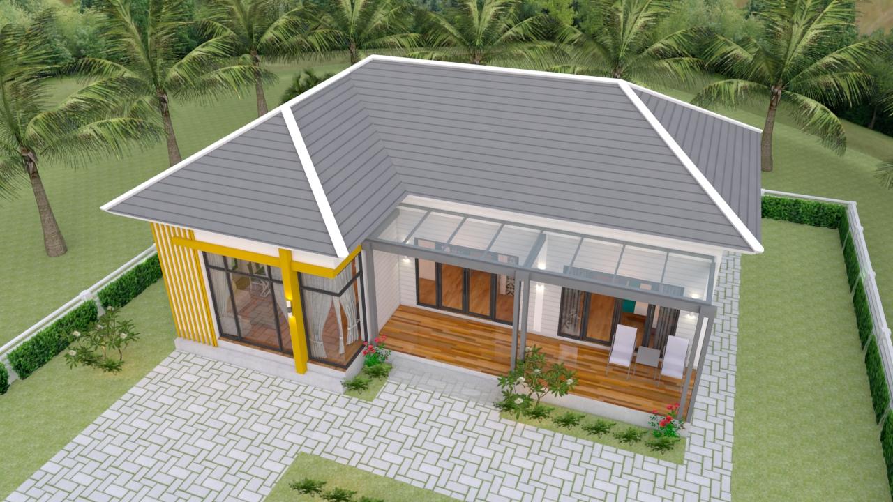 Floor Plan Drawing 13x9.5 Meter 43x31 Feet 2 Beds 5