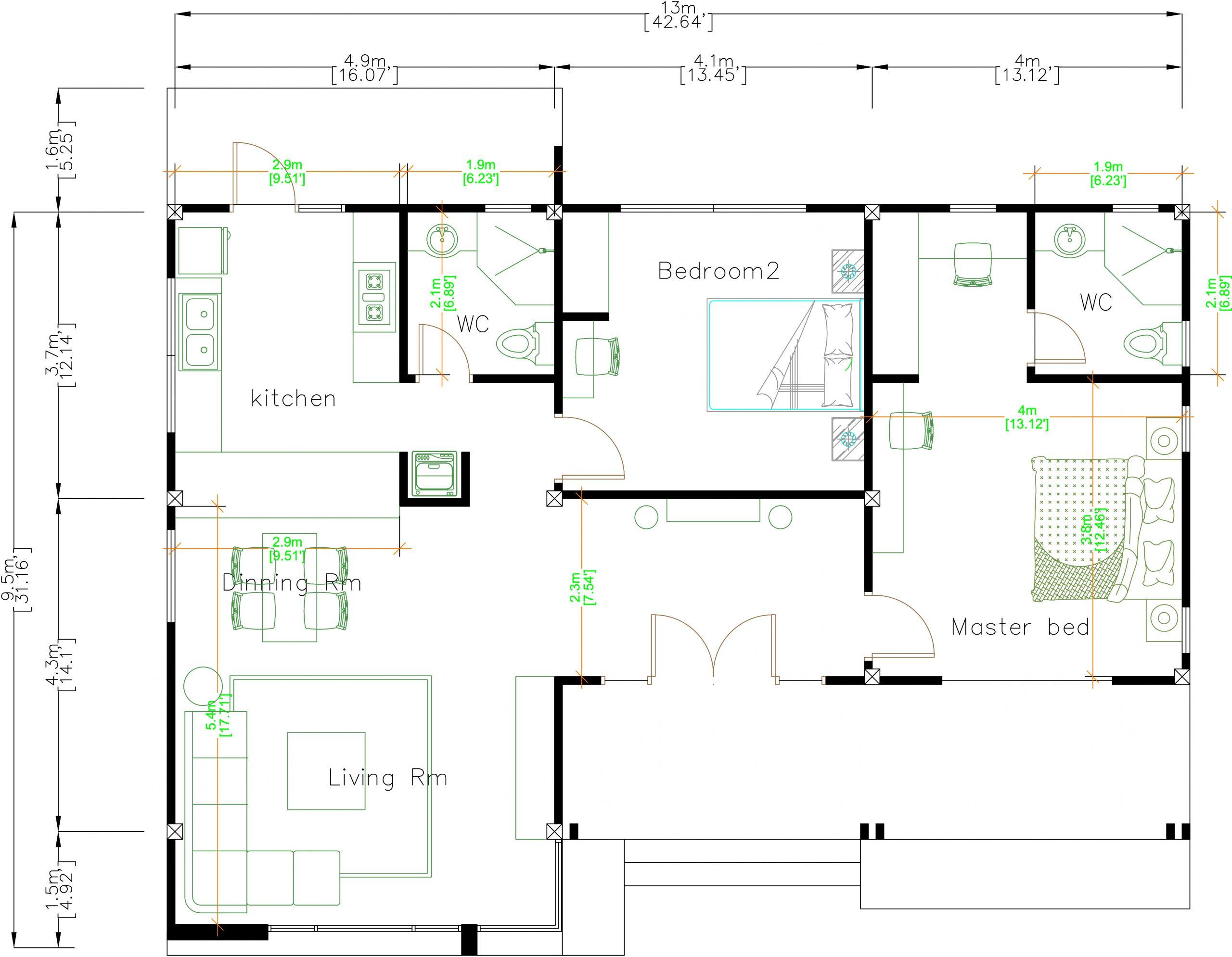 Floor Plan Drawing 13x9.5 Meter 43x31 Feet 2 Beds layout floor plan