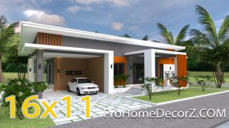 House Designs Plans 16x11 Meter 53x36 Feet 3 Beds