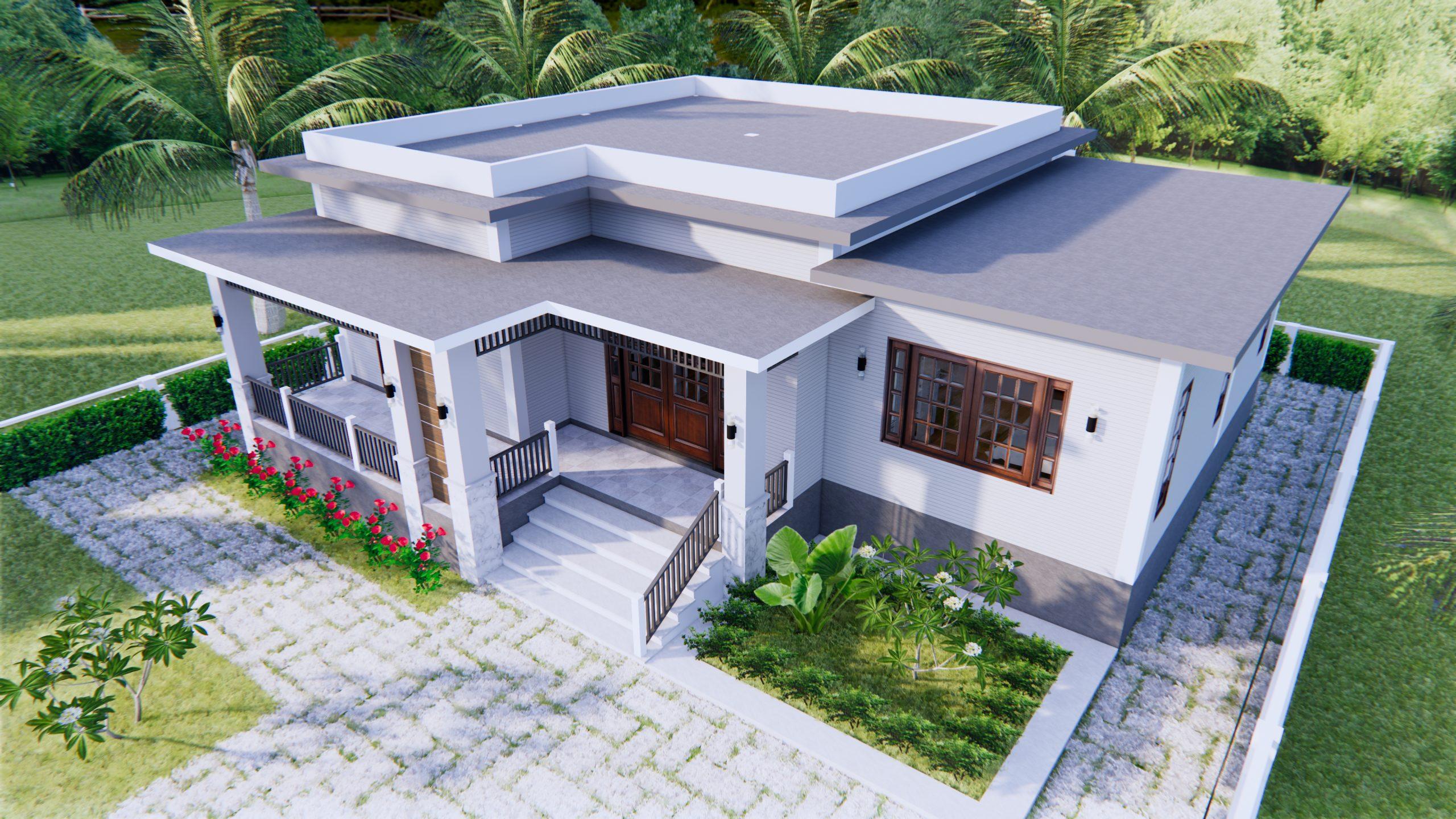 House Plan Drawing 12x11 Meter 39x36 Feet 3 Beds 5