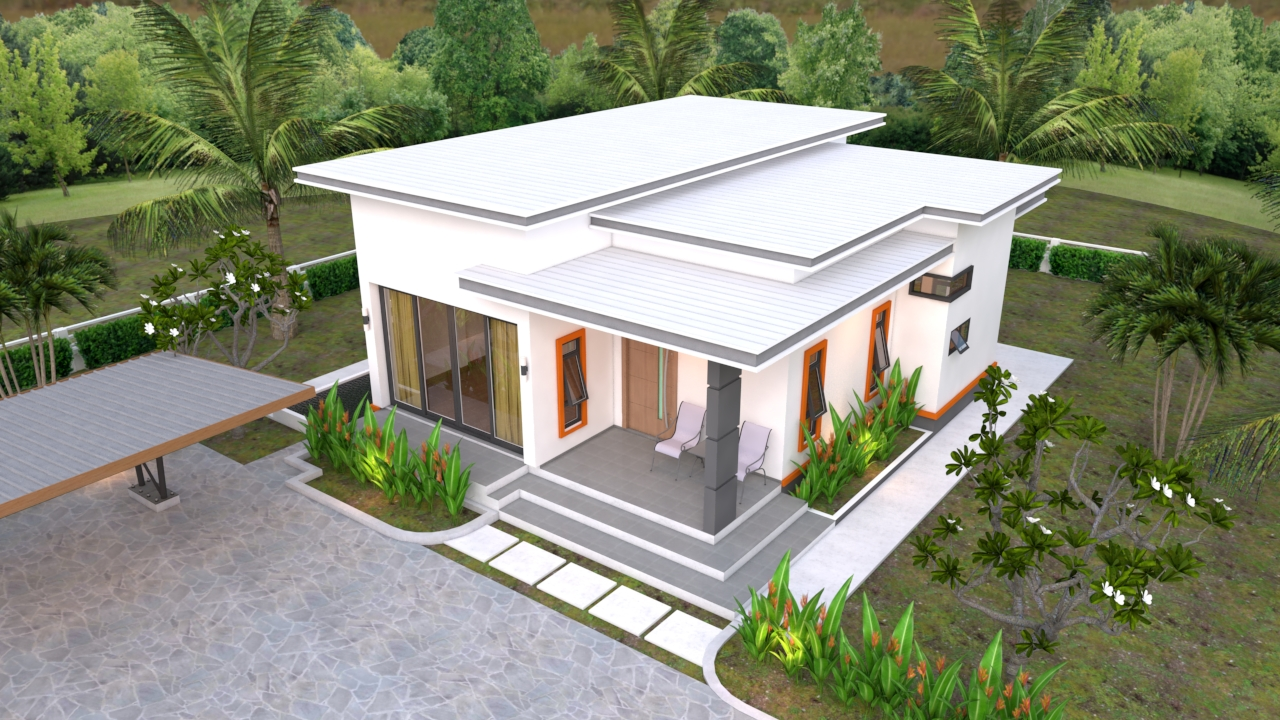 Mini House Designs 10.7x10.5 Meter 35x34 Feet 2 Beds 4