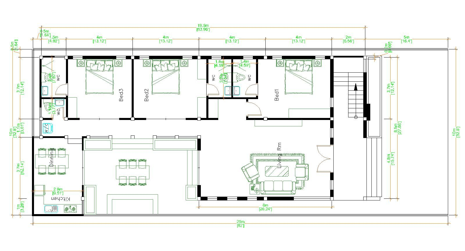 Modern Home Plans 10x25 with 33x82 Feet 3 Beds floor plan
