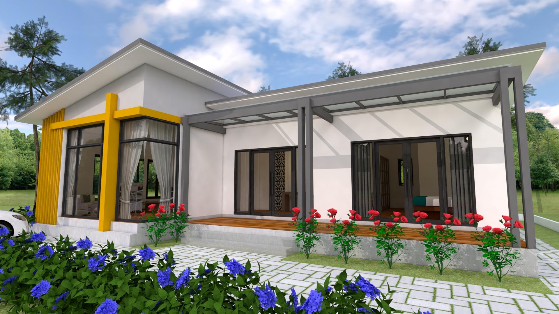 Modern House Floor Plans 13x9.5 Meter 43x31 Feet 2 Beds 2