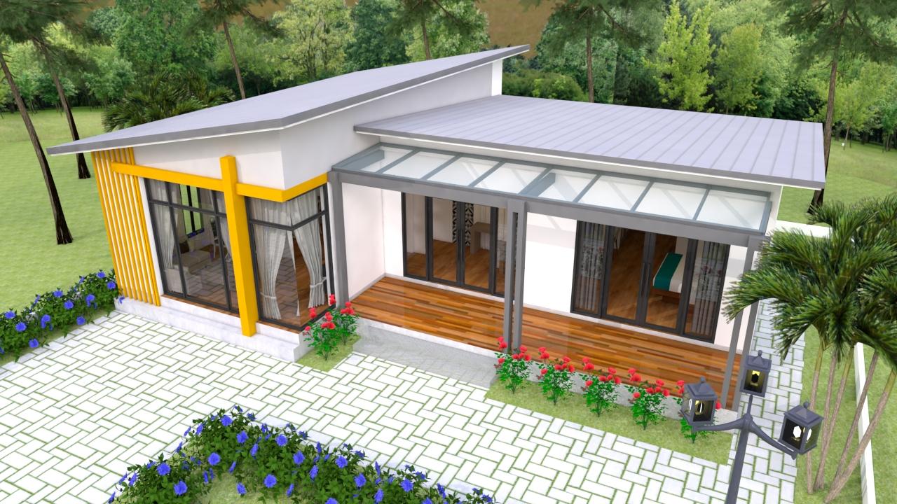 Modern House Floor Plans 13x9.5 Meter 43x31 Feet 2 Beds 5