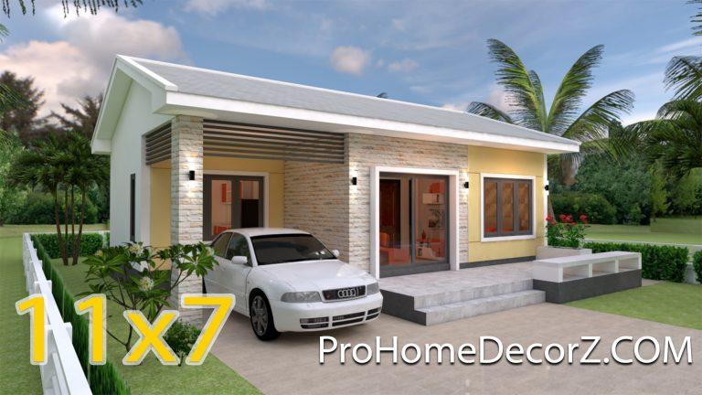 Modern house Plans 11x7 Meter 36x23 Feet 3 Beds
