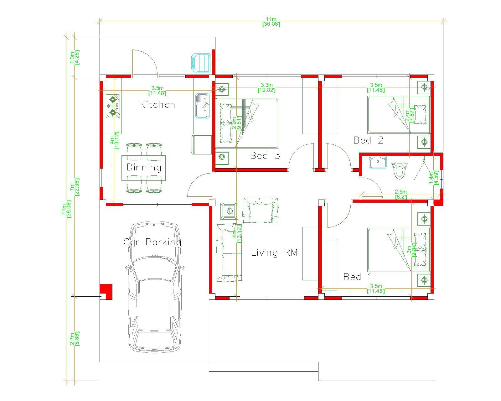 Modern house Plans 11x7 Meter 36x23 Feet 3 Beds floor plan