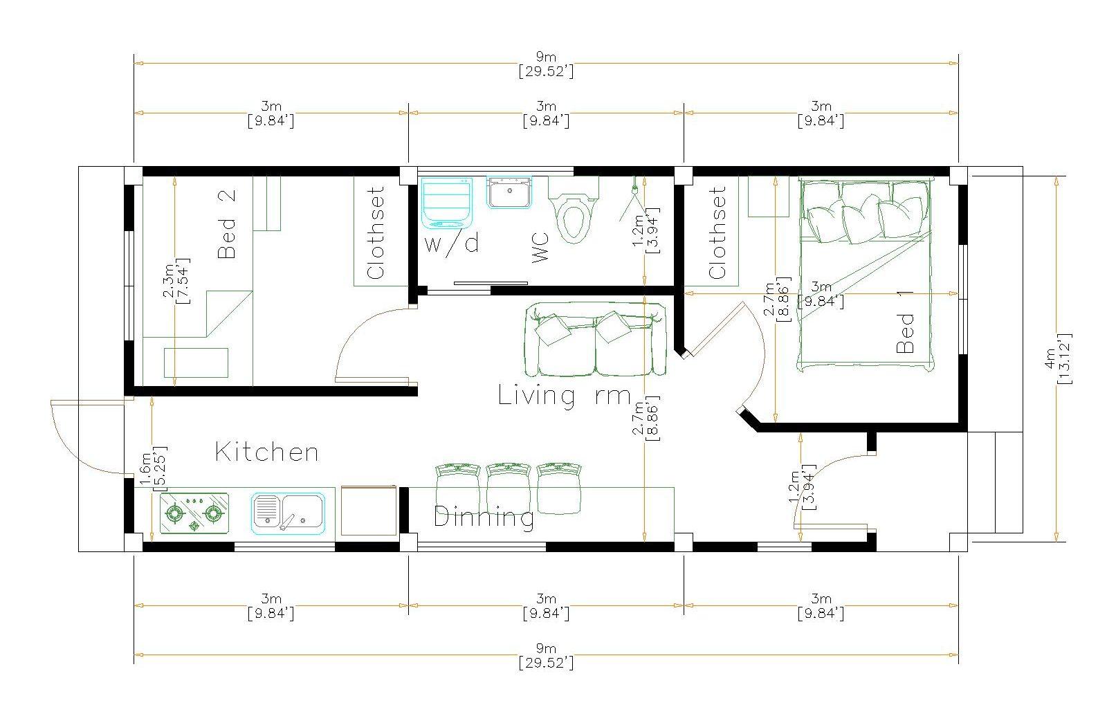 One Level House Plans 4x9 Meter 13x30 Feet floor plan