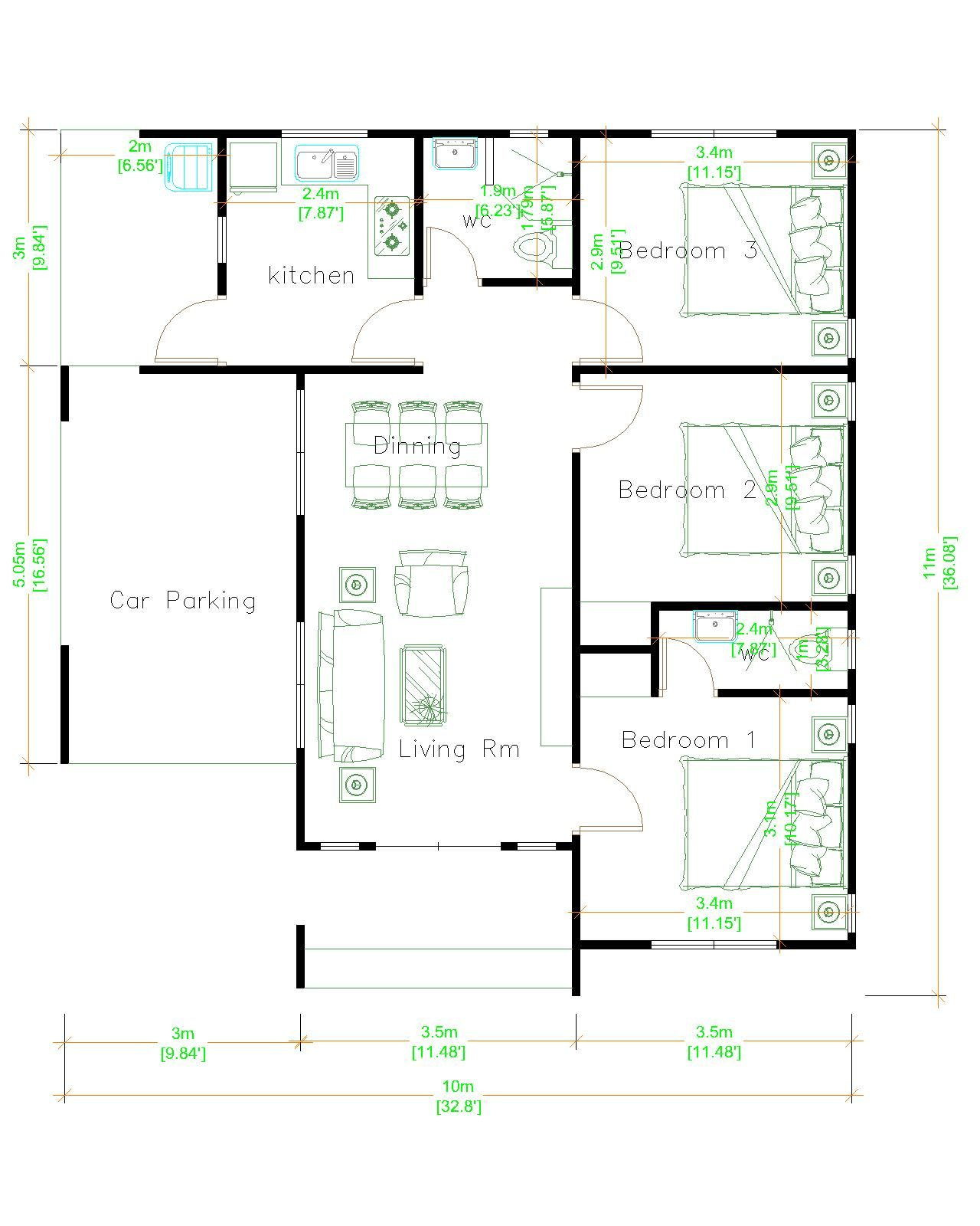 One Storey House 10x11 Meter 33x36 Feet 3 Beds Layout floor plan