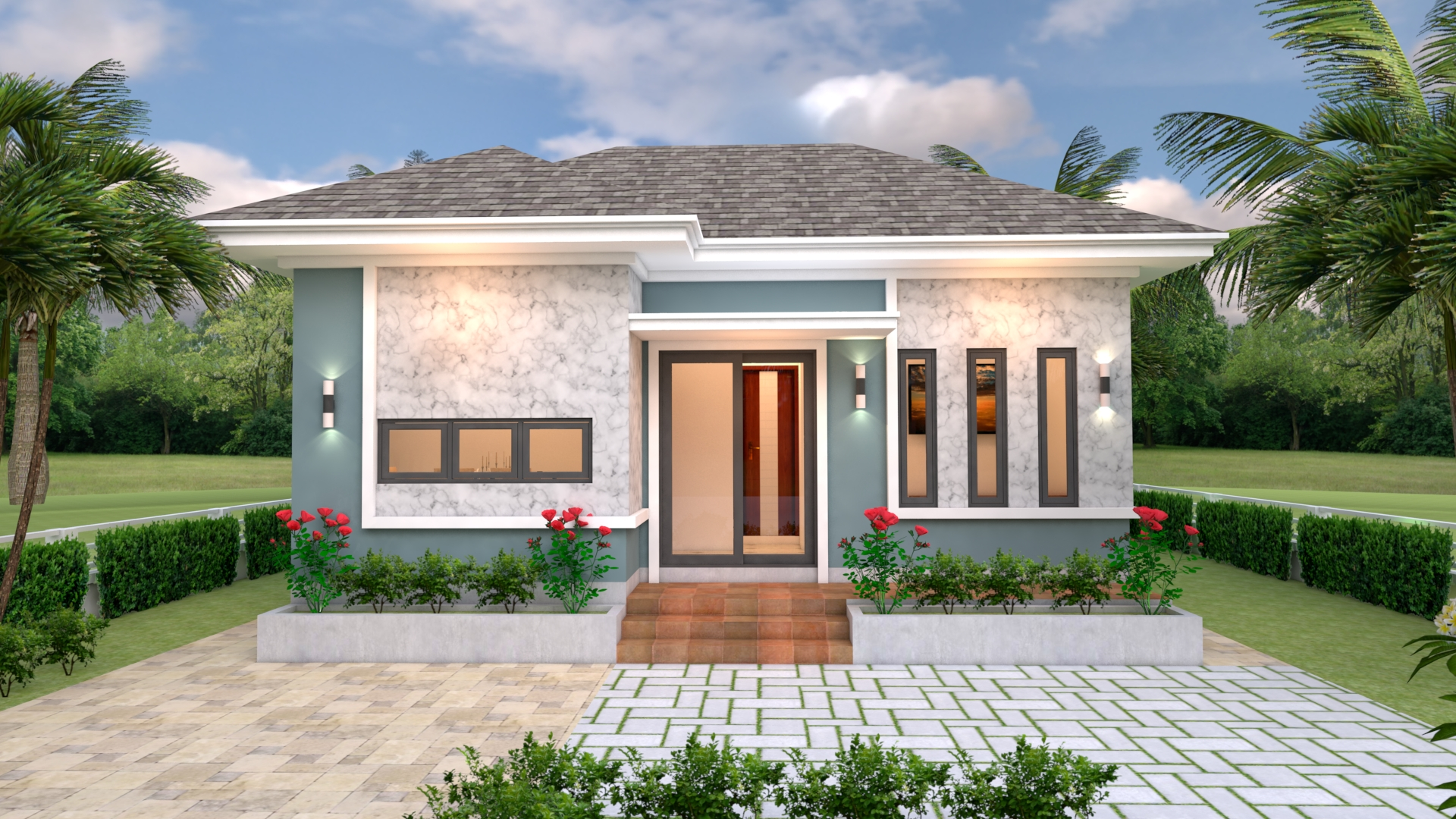 Simple Bungalow House Designs 8x6 Meter 26x20 Feet 2 Beds 1
