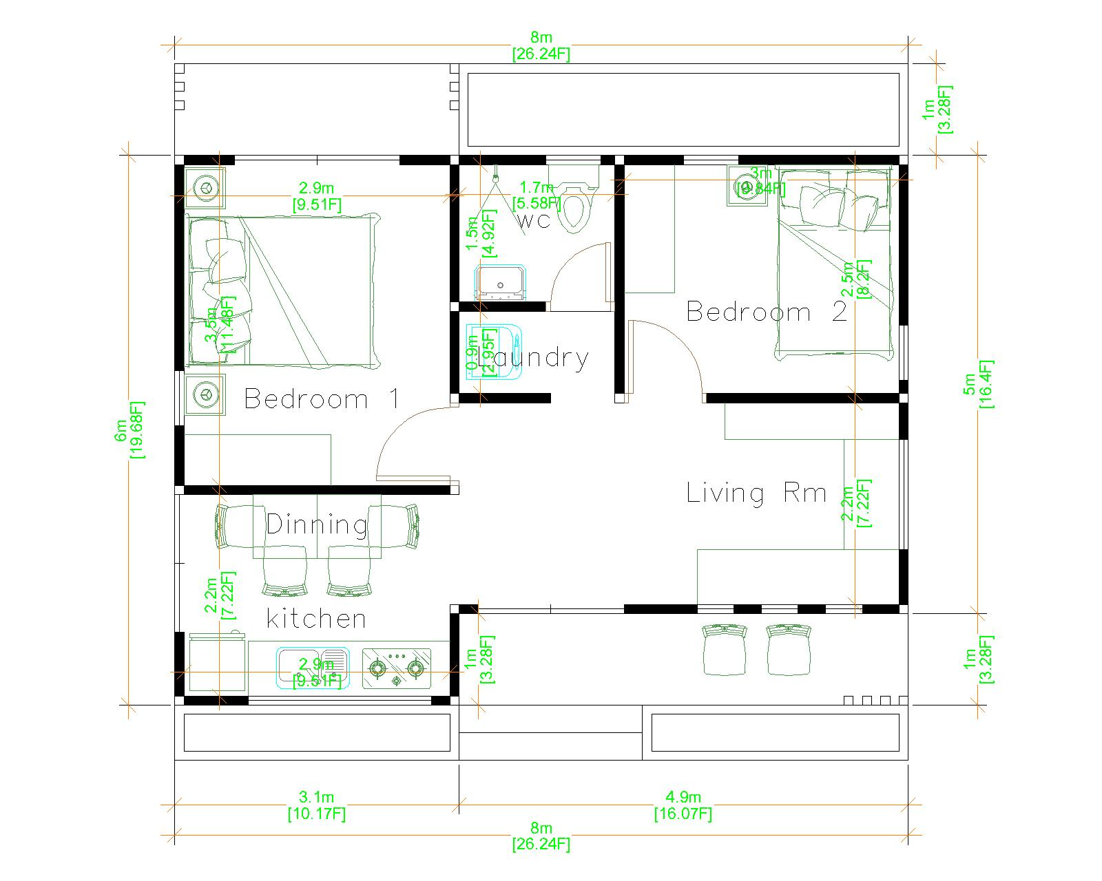 Simple Bungalow House Designs 8x6 Meter 26x20 Feet 2 Beds Floor plans