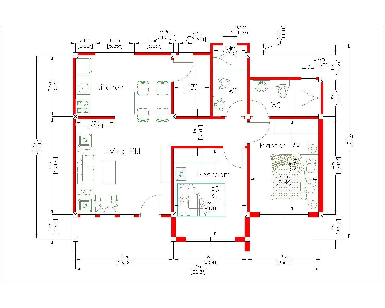 Simple House Design 10x8 Meter 27x34 Feet 3 Beds layout floor plan