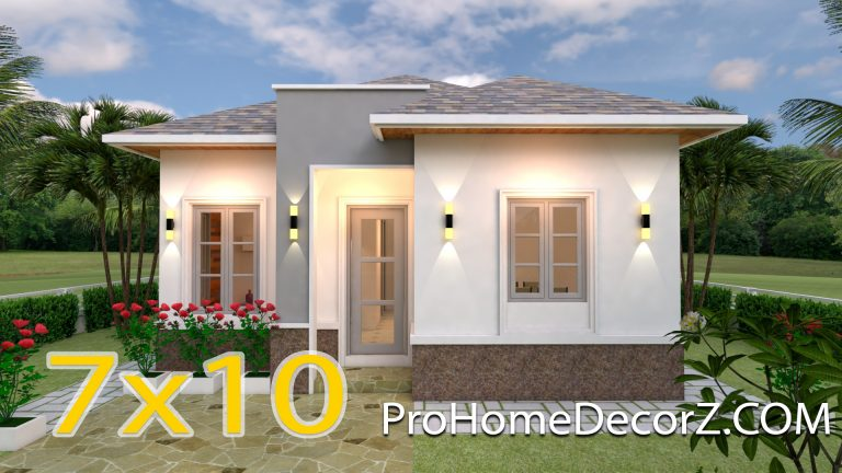 Simple Small House 7x10 Meter 23x33 Feet 3 Beds