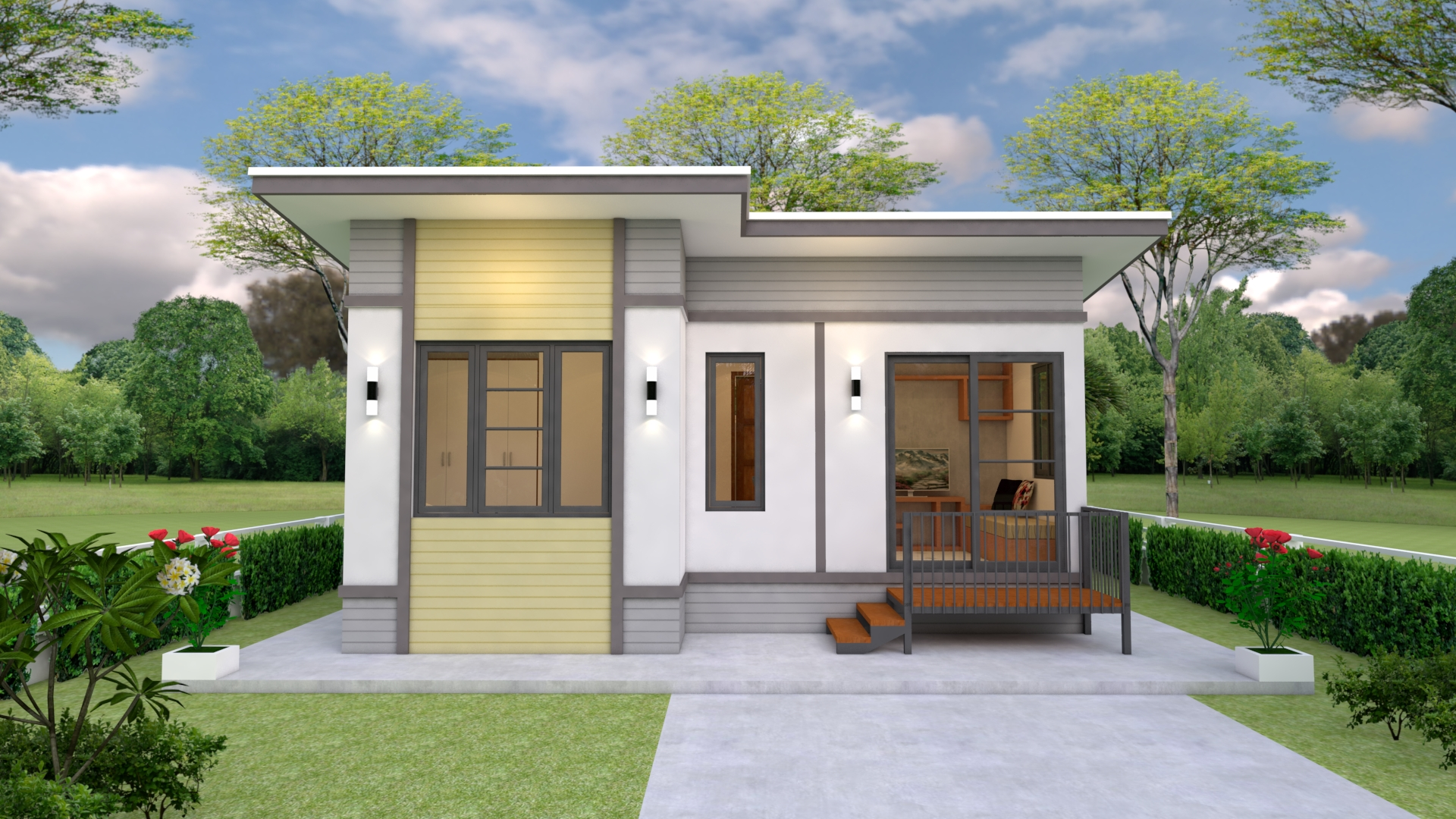 Simple Small House Design 7x6 Meter 23x20 Feet 2 Beds 2