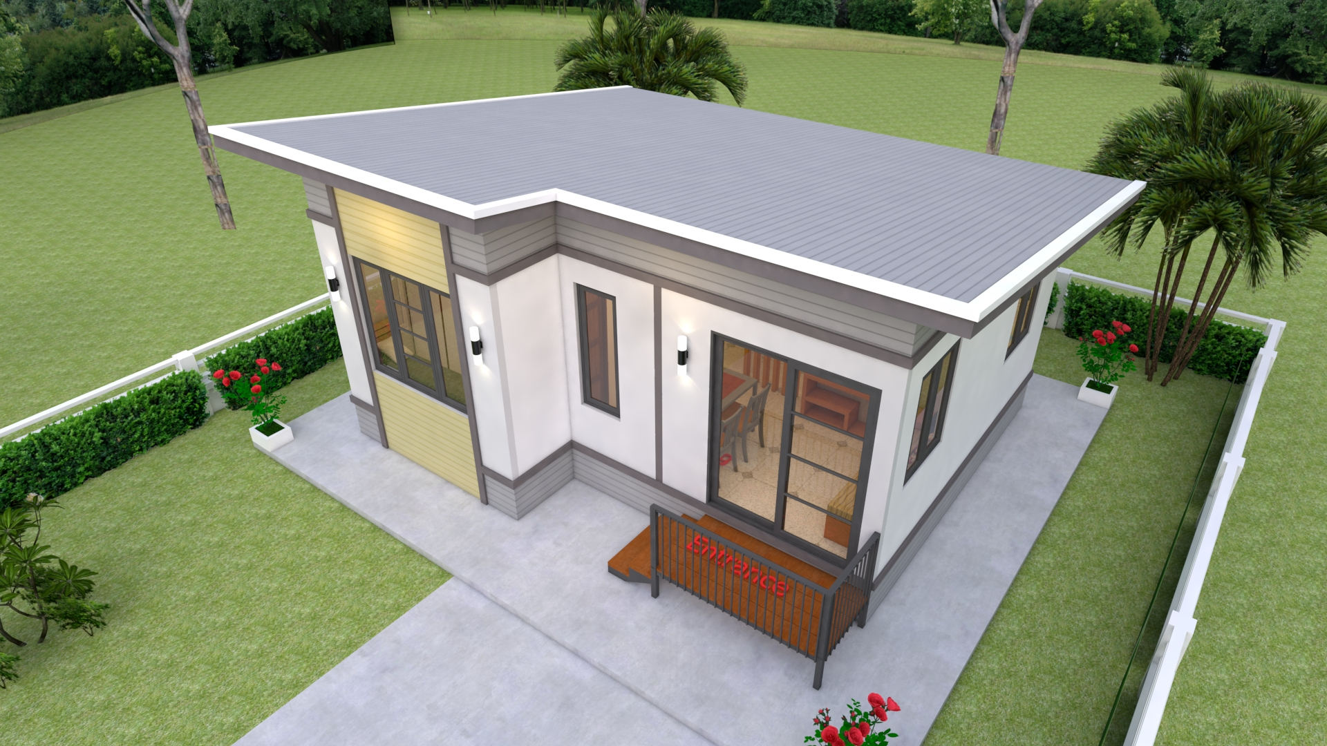 Simple Small House Design 7x6 Meter 23x20 Feet 2 Beds 4