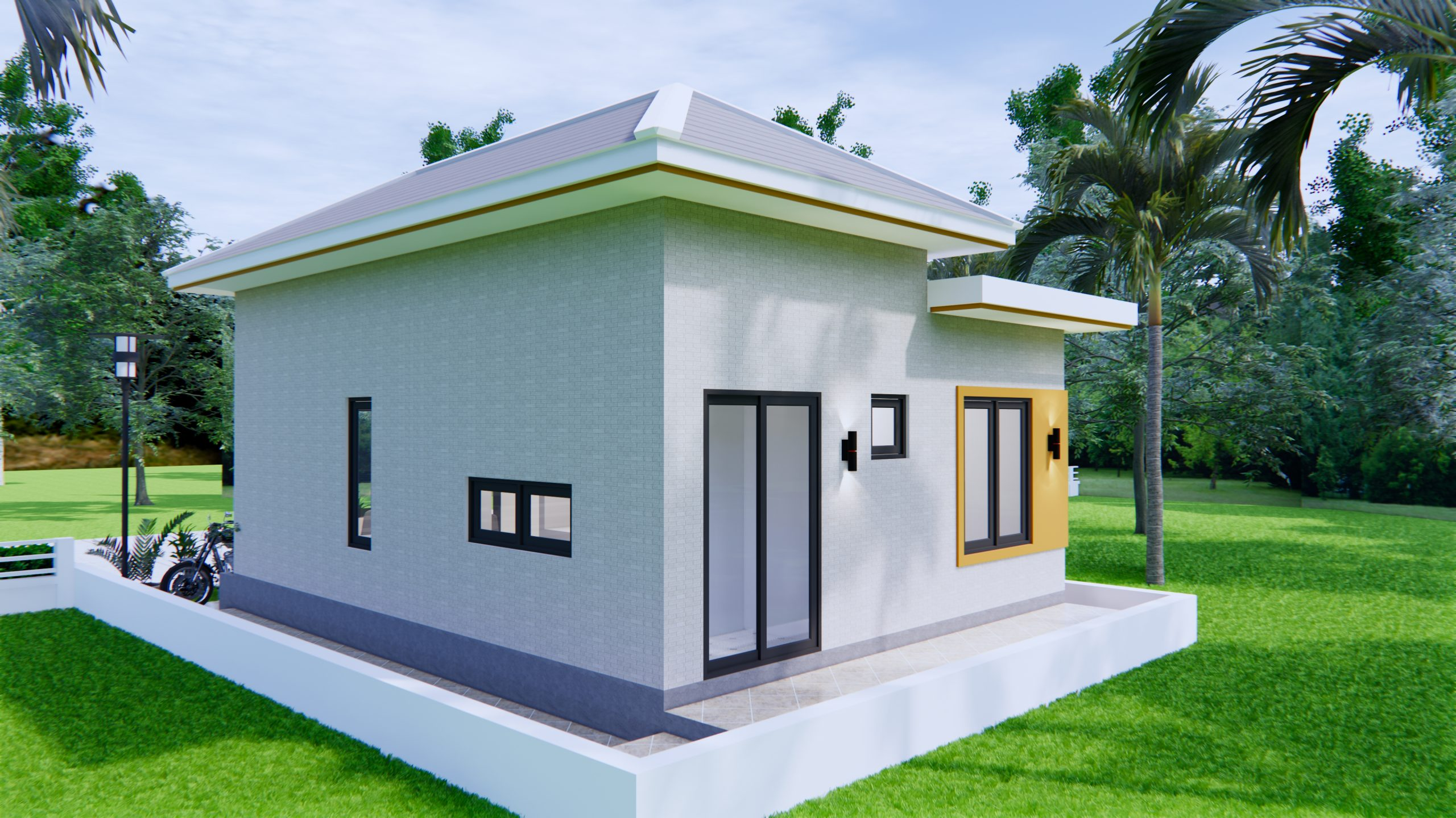 Single Story House Plans 6x8 Meter 20x27 Feet 2 Beds 7
