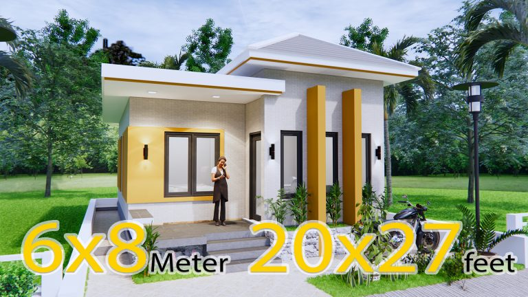 Single Story House Plans 6x8 Meter 20x27 Feet 2 Beds