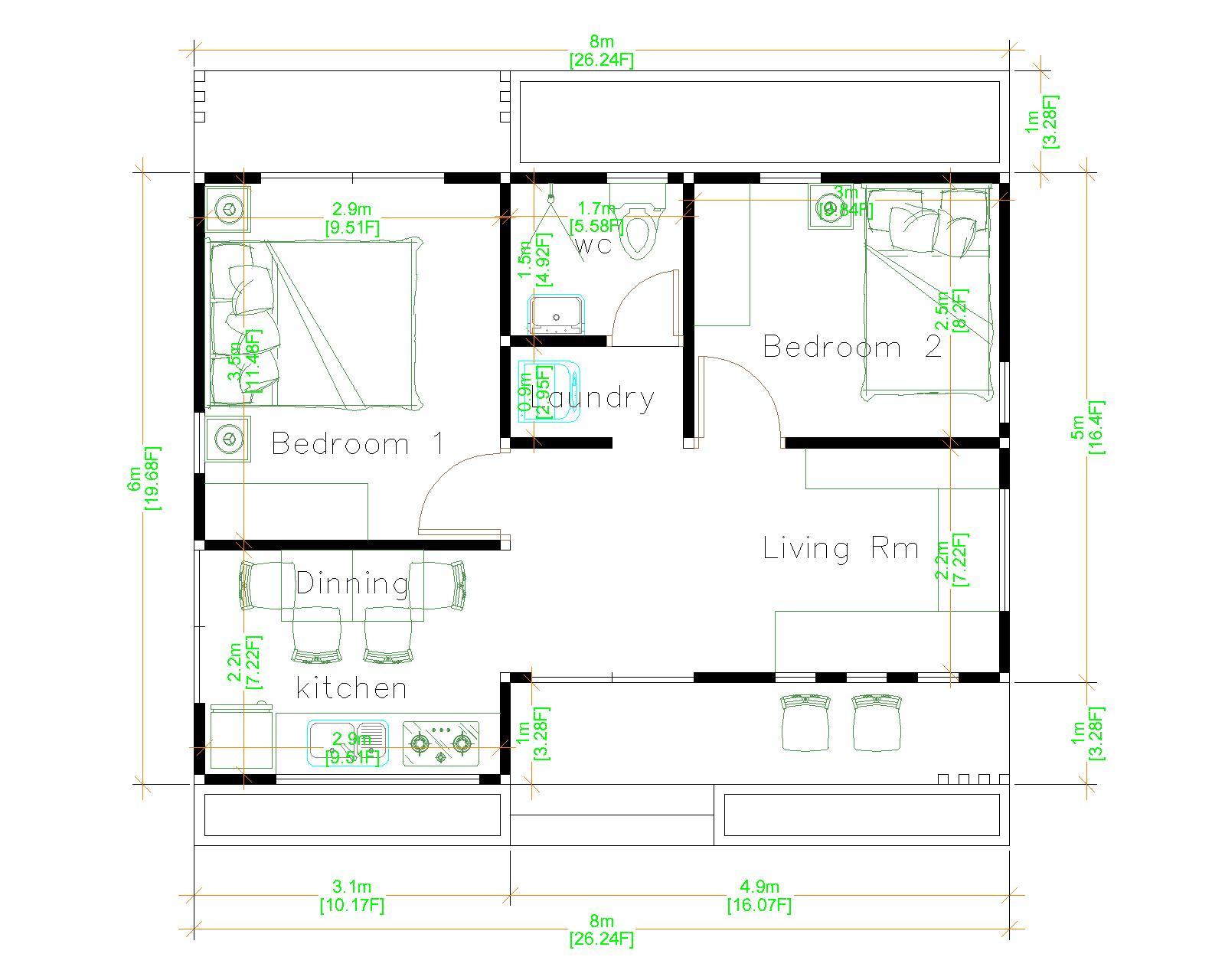 Small 2 Bedroom House 8x6 Meter 26x20 Feet Floor plans