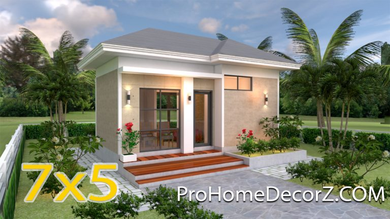 Small Budget House 5x7 with One Bedroom Hip Roof