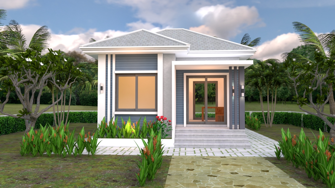 Small Bungalow House 6x6 Meter 20x20 Feet Hip Roof 2