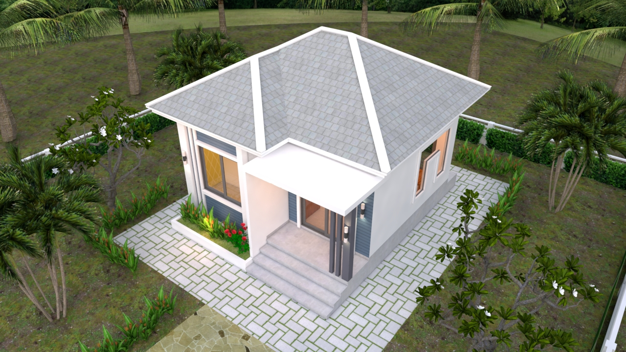 Small Bungalow House 6x6 Meter 20x20 Feet Hip Roof 3