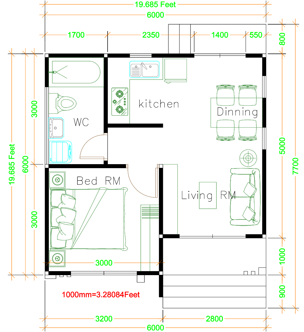 Small Bungalow House 6x6 Meter 20x20 Feet Hip Roof Floor plans