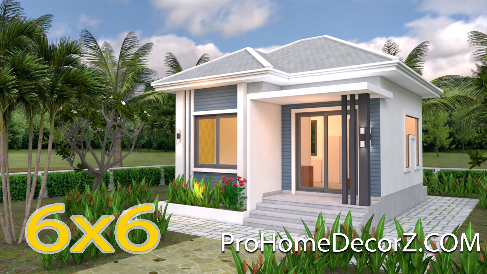 Small Bungalow House 6x6 Meter 20x20 Feet Pro Home Decor Z