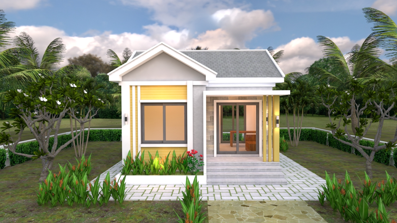 Small Cottage Designs 6x6 Meters Gable Roof 20x20 Feet 1