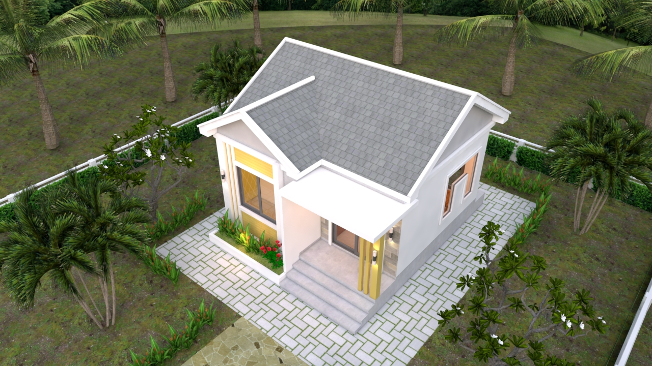 Small Cottage Designs 6x6 Meters Gable Roof 20x20 Feet 2