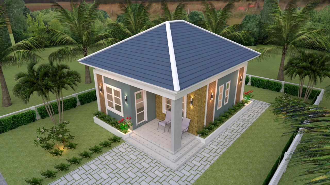 Small Cottage House 6.5x8 Meter 21x26 Feet Hip Roof 1