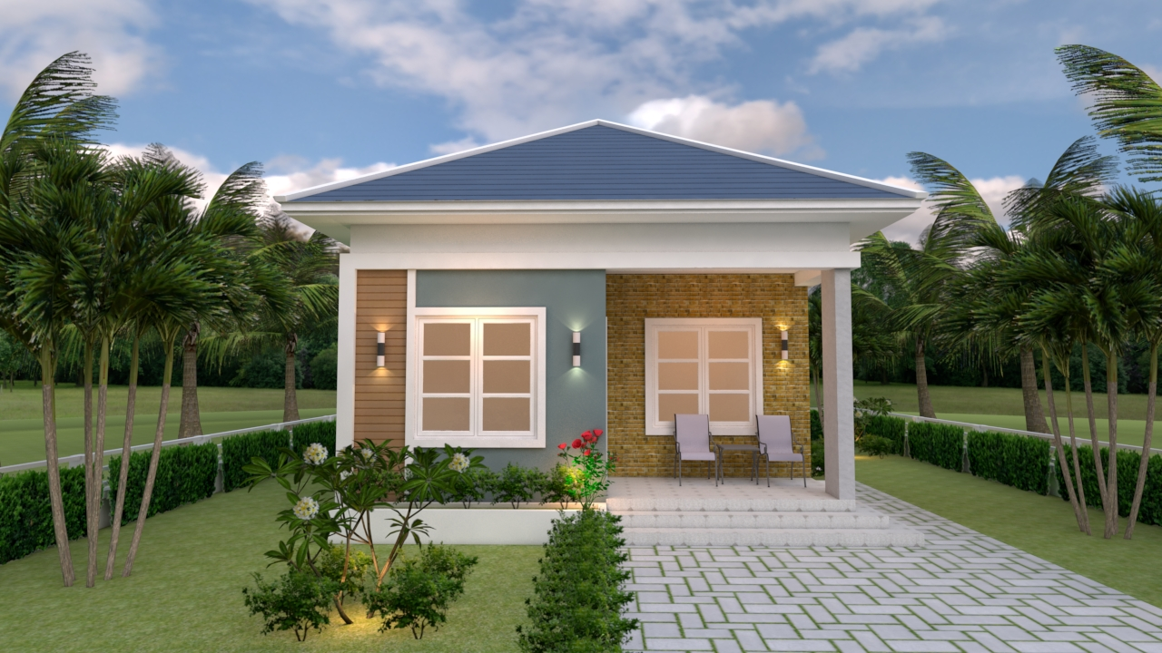 Small Cottage House 6.5x8 Meter 21x26 Feet Hip Roof 2