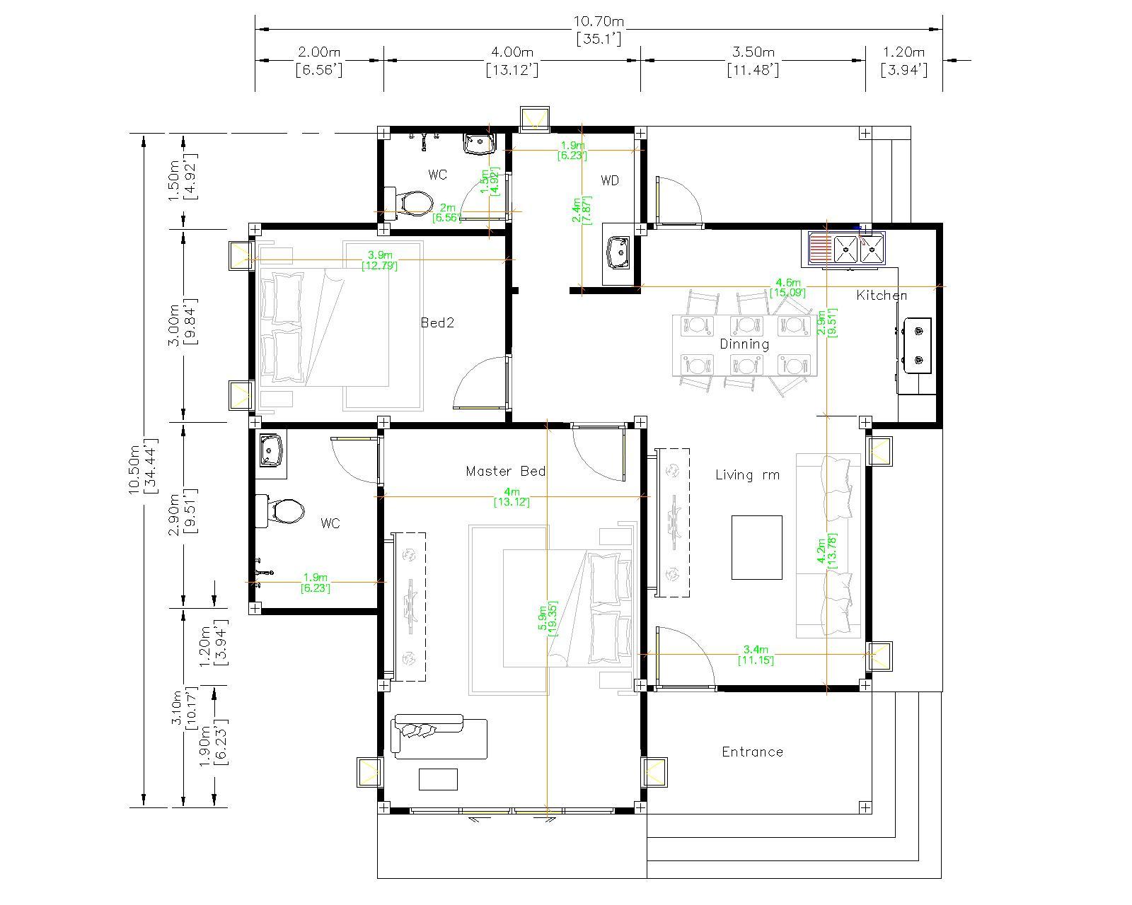 Small Dream House 10.7x10.5 Meter 35x34 Feet 2 Beds floor plan