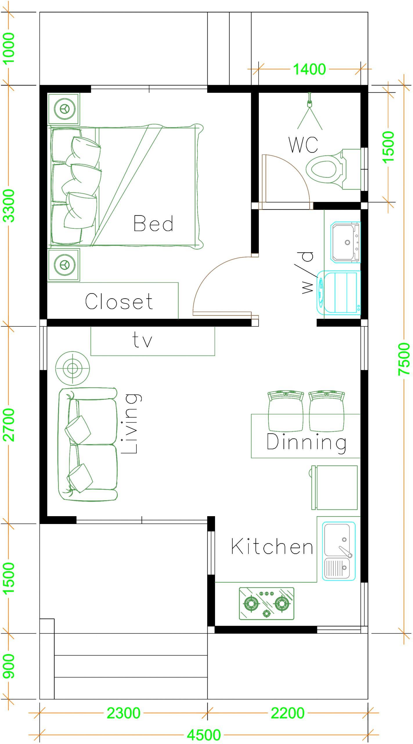 Home 4.5x7.5 floor plan