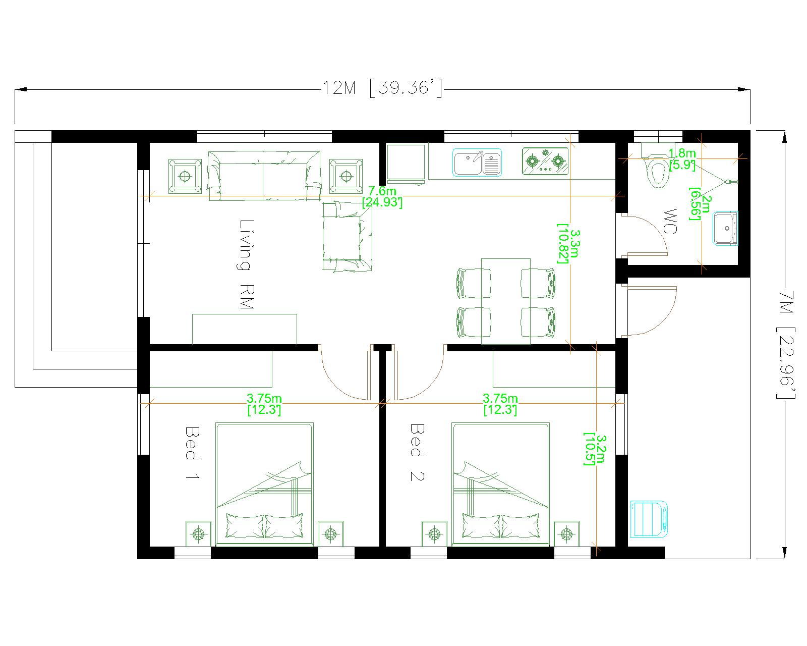 Small Family House 7x12 Meter 23x40 Feet 2 Beds Floor plan