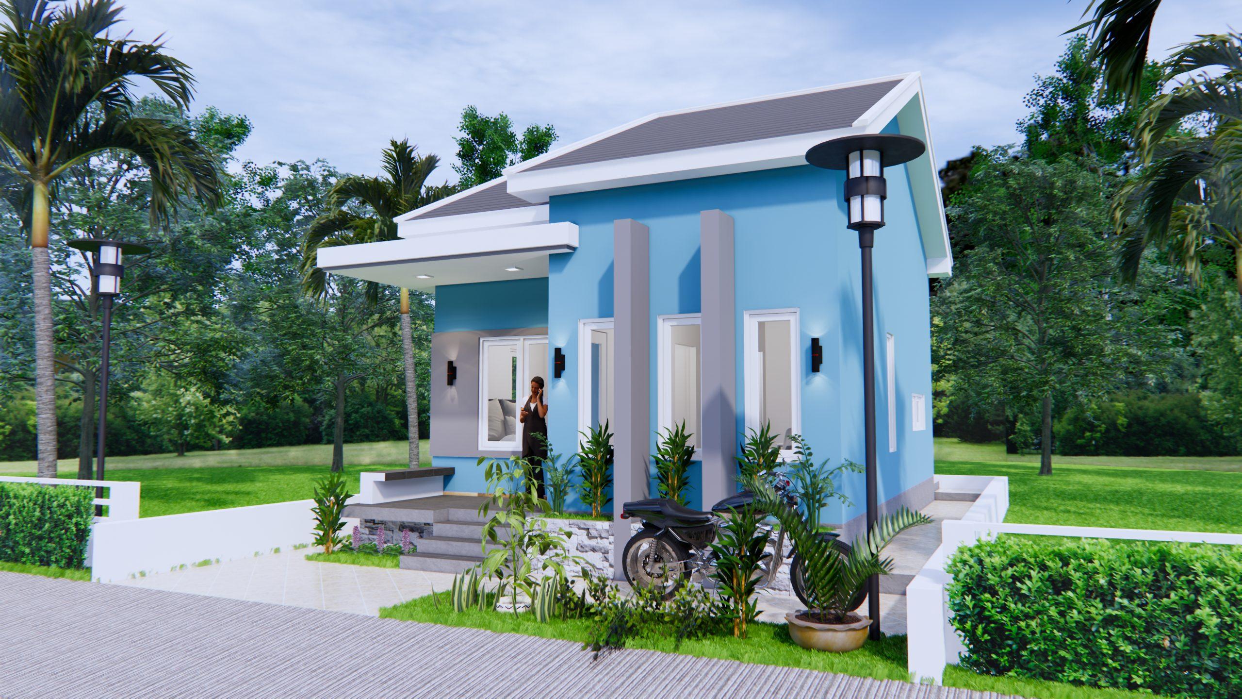 Small House Floor Plans 6x8 Meter 20x27 Feet 2 Beds 2
