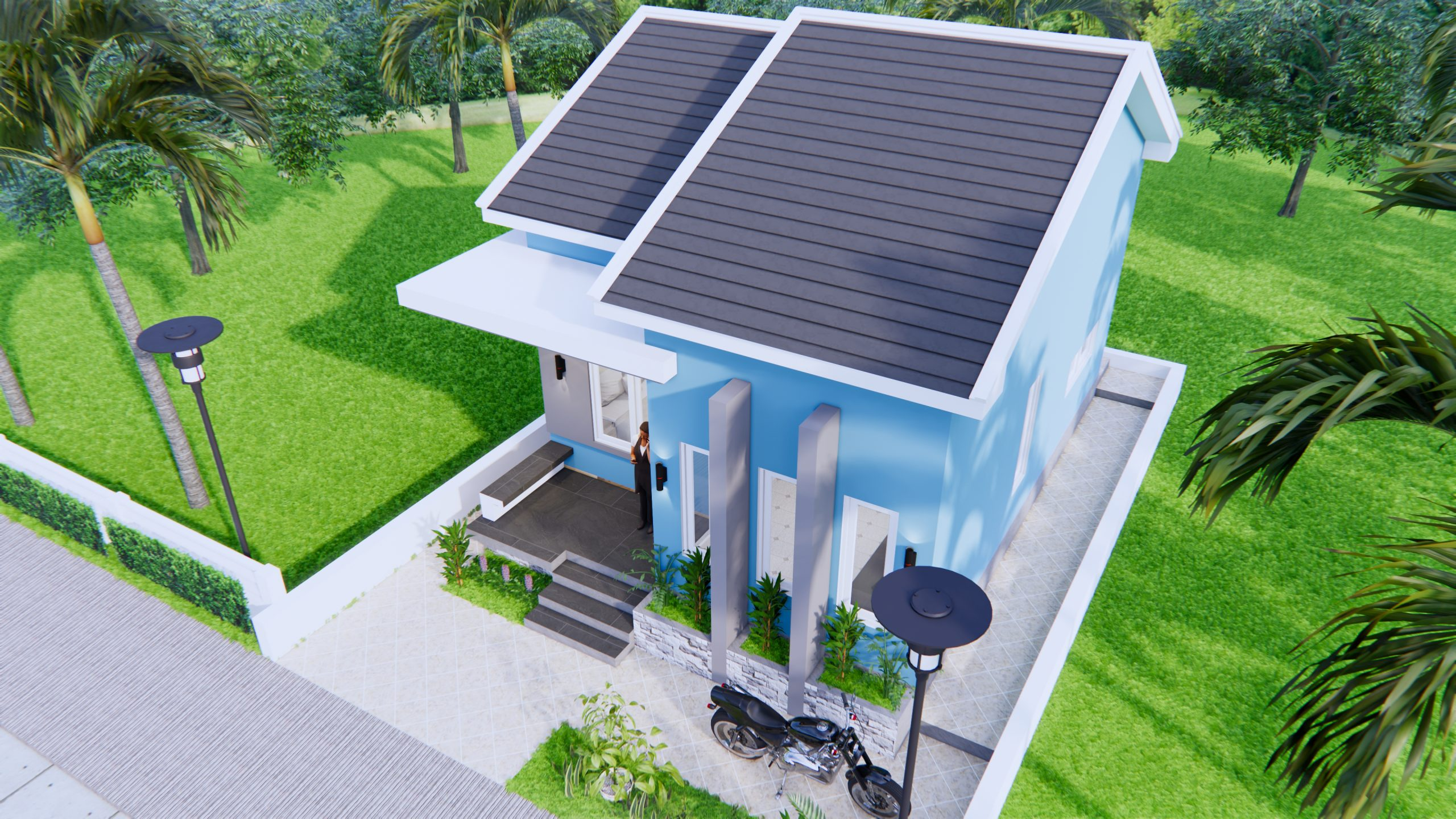 Small House Floor Plans 6x8 Meter 20x27 Feet 2 Beds 3