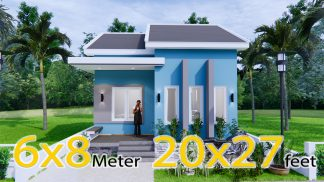 Small House Floor Plans 6x8 Meter 20x27 Feet 2 Beds