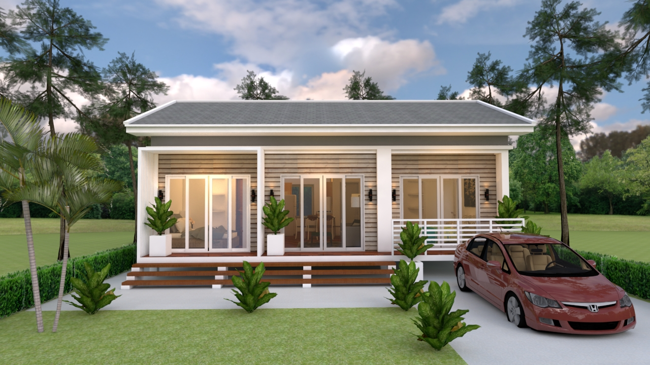 Small House Plans 10x8 Meter 27x34 Feet 3 Beds 2