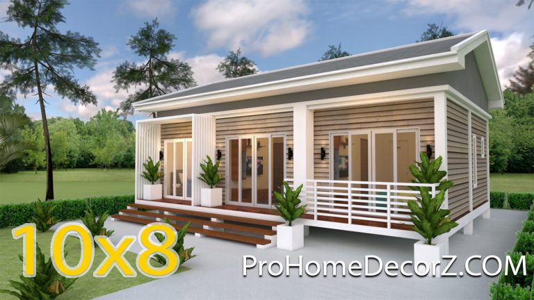 Small House Plans 10x8 Meter 27x34 Feet 3 Beds