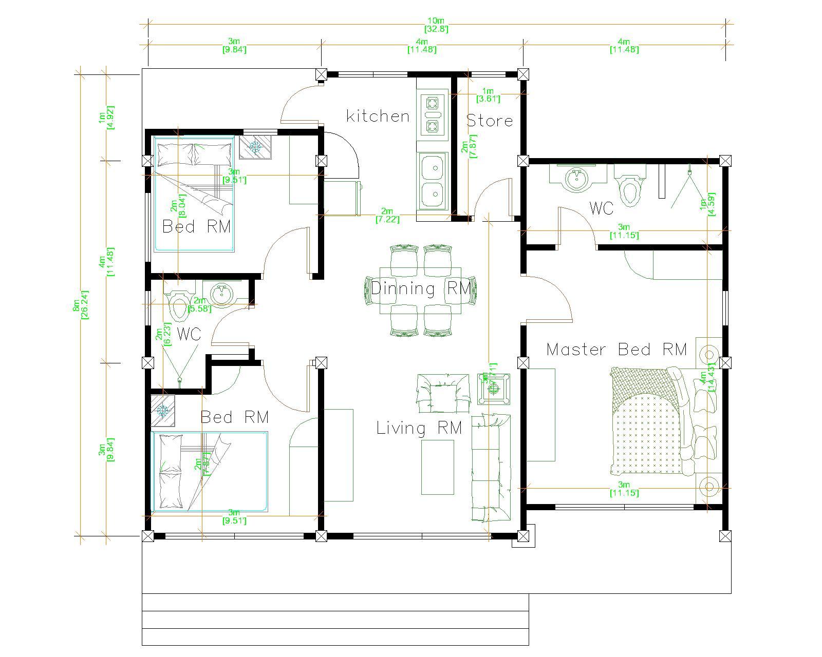Small House Plans 10x8 Meter 27x34 Feet 3 Beds floor plan