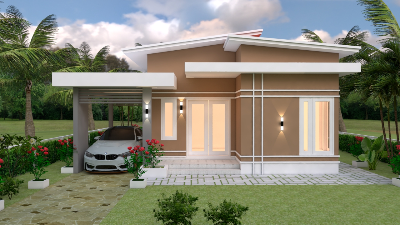 Small House With Garage 9x12 Meter 30x40 Feet 3 Beds 2