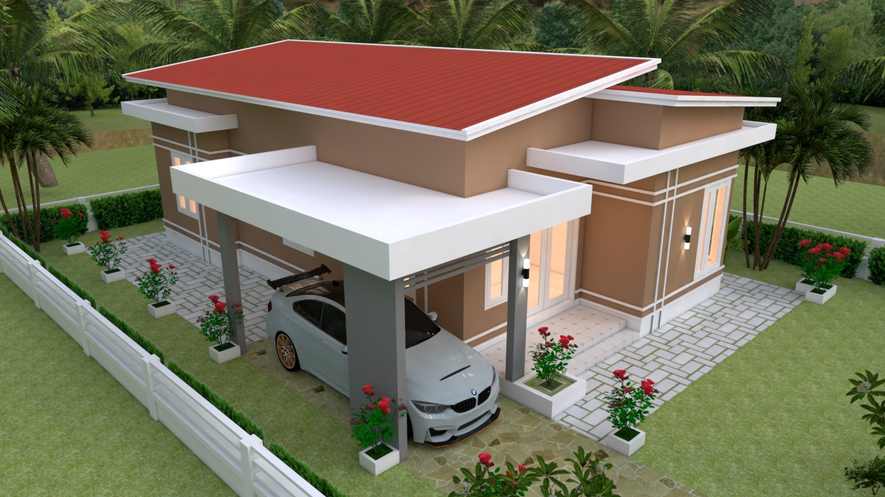 Small House With Garage 9x12 Meter 30x40 Feet 3 Beds 4