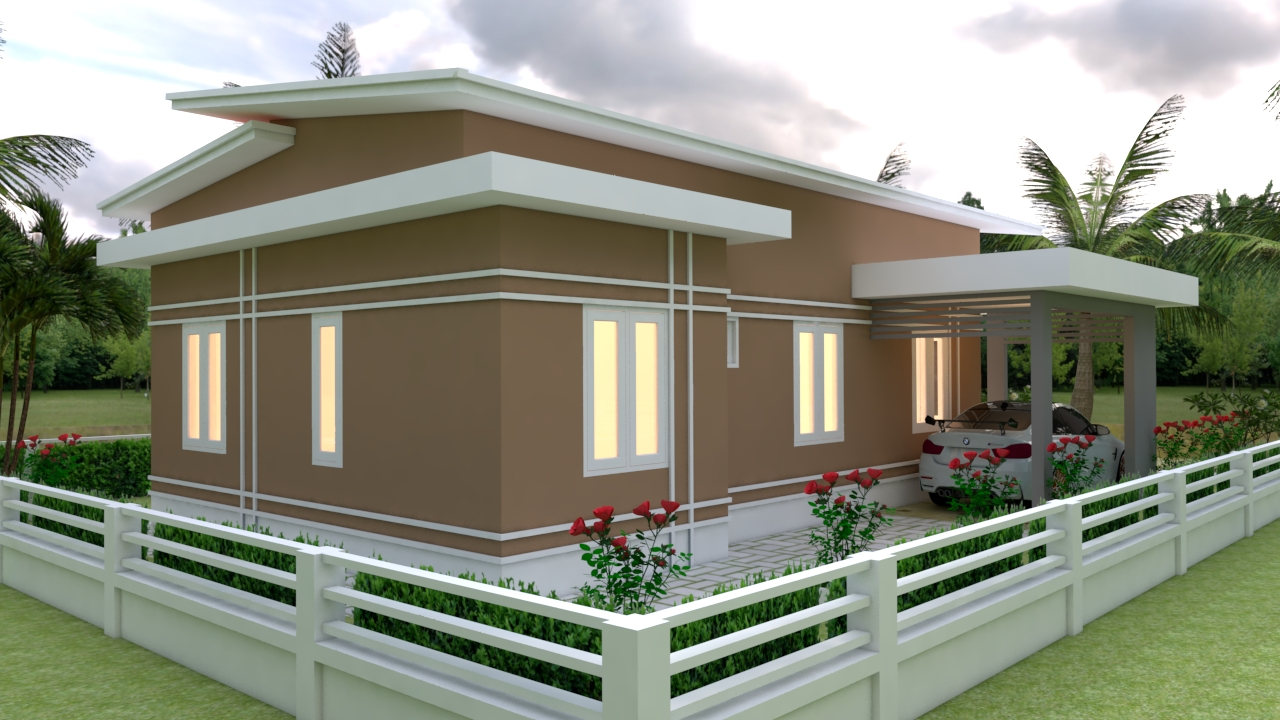 Small House With Garage 9x12 Meter 30x40 Feet 3 Beds 5
