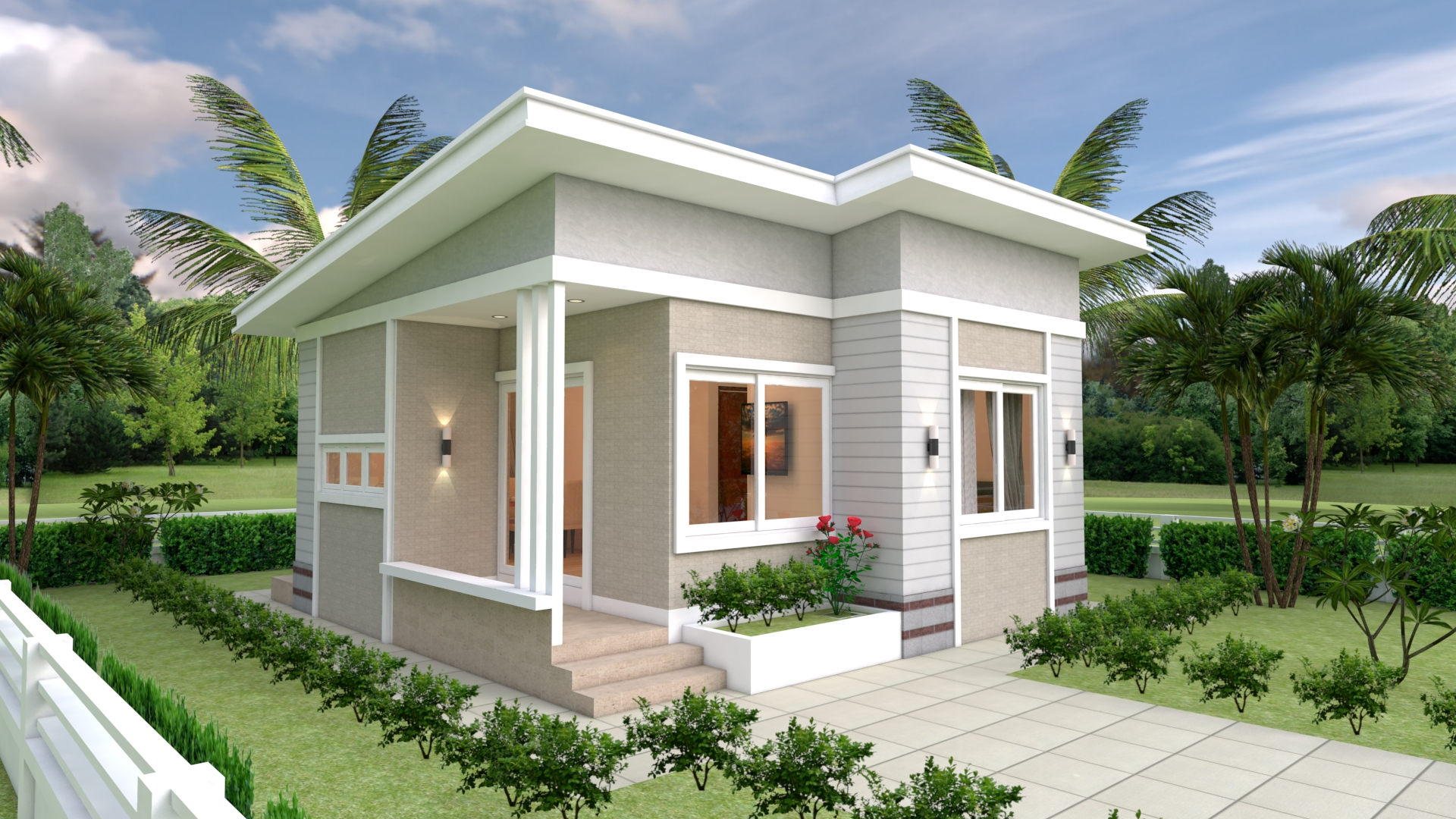 Small Luxury Homes 7x7 Meter 24x24 Feet 2 Beds 1