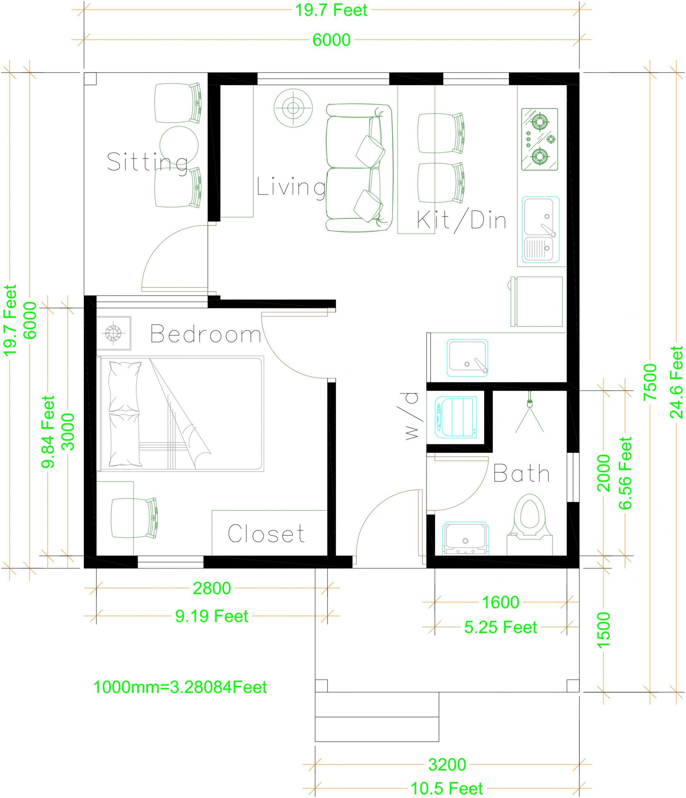 6x7.5 house floorplan
