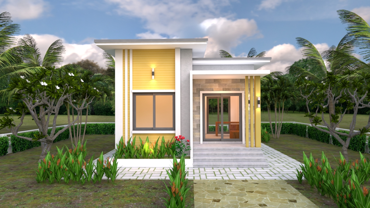 Small Modern House 6x6 Meter 20x20 Feet Flat Roof 1