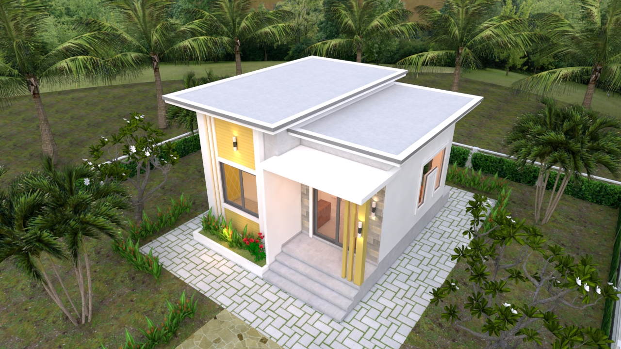 Small Modern House 6x6 Meter 20x20 Feet Flat Roof2